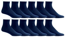 24 Units of Men's Loose Fit NoN-Binding Soft Cotton Diabetic Quarter Ankle Socks,size 10-13 Navy - Men's Diabetic Socks