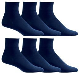 6 Units of Yacht & Smith Women's Diabetic Cotton Ankle Socks Soft NoN-Binding Comfort Socks Size 9-11 Navy - Womens Ankle Sock