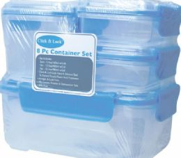 6 Units of 8 Piece Plastic Container With Click And Lock Lids - Food Storage Containers