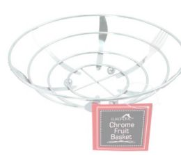12 Units of Chrome Fruit Basket With Fork And Spoon Design - Baskets