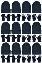 24 Bulk Yacht & Smith Unisex Warm Winter Hats And Glove Set Solid Black 24 Piece