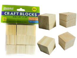 96 Units of 9 Piece Wood Craft Blocks - Craft Wood Sticks and Dowels
