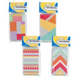 72 Units of 4 Pack Geometric Pattern Memo Books - Note Books & Writing Pads