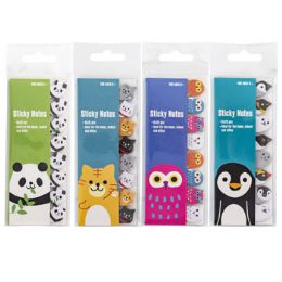 96 Units of 12 Piece Animal Sticky Note Diecut Flags - School Supplies