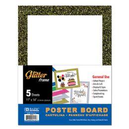 "48 Wholesale Bazic 11"" X 14"" White Poster Board W/glitter Frame"