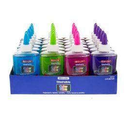 36 Units of Bazic 5 Oz. (147 Ml) Washable Color Clear School Glue W/ Pdq Display - Glue Office and School