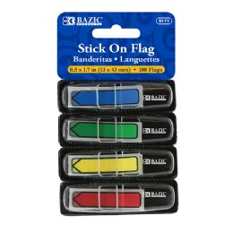"""48 of Bazic 25 Ct. 0.5"""" X 1.7"""" Neon Color Printed Arrow Flags W/ Dispenser (4/pack)"""