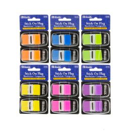 """48 of Bazic 30 Ct. 1"""" X 1.7"""" Neon Color Standard Flags W/ Dispenser (2/pack)"""