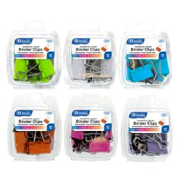 48 Wholesale Bazic Assorted Size Color Binder Clip (12/pack)