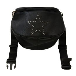 12 Units of Oversize Fanny Pack In Black With Star - Fanny Pack