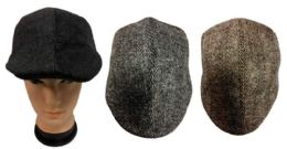 24 Units of Ivy Wool Feel Man Caps Driving Caps With Pattern - Fedoras, Driver Caps & Visor