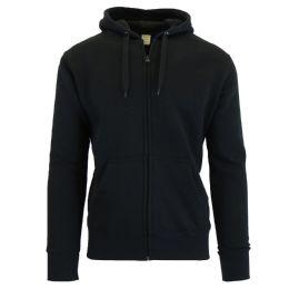 24 Units of Men's Fleece Lined Zip Hoodie Solid Black - Mens Sweat Shirt