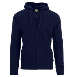 24 Units of Men's Fleece Lined Zip Hoodie Solid Navy - Mens Sweat Shirt