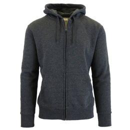 24 Units of Men's Fleece Lined Zip Hoodie Solid Gray - Mens Sweat Shirt