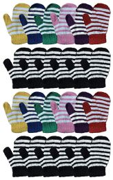 24 Units of Yacht & Smith Kids Striped Mitten With Stretch Cuff Ages 2-8 - Kids Winter Gloves