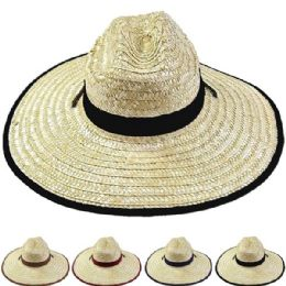 24 Units of Adults Large Assorted Color Brim Straw Hat - Sun Hats