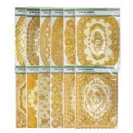72 Units of 2 Pieces Gold Stamping Waterproof Placemat - Placemats