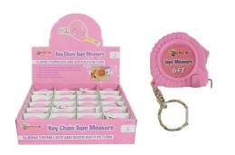 48 Units of Keychain Pink Tape Measure - Tape Measures and Measuring Tools