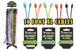 72 Units of 10 Foot Xlarge Phone Cables With Free Rack At Apple - Cell Phone Accessories