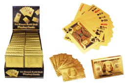 24 Units of Gold Foil Playing Cards - Magic & Joke Toys