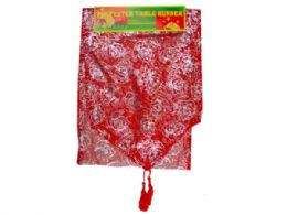 144 Units of Red And Gold Bell Designs Table Runner - Table Runner