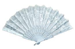 48 Wholesale Folding Fan White Butterfly