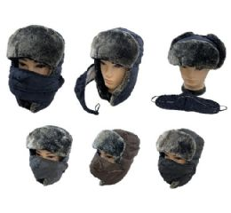 24 Bulk Aviator Hat With Fur Trim And Detachable Mask [3-IN-1]