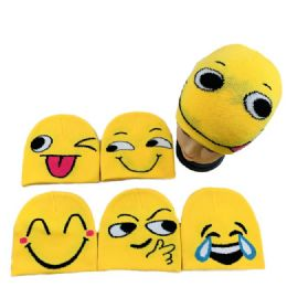 48 Units of Child's Knitted Beanie With Emoji Faces - Junior / Kids Winter Hats
