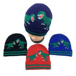 48 Units of Child's Dinosaurs Knitted Cuffed Winter Hat - Junior / Kids Winter Hats