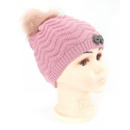 36 Units of Kids Knit Beanie Hat With Fur Lined In Assorted Colors - Junior / Kids Winter Hats