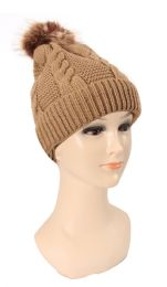 48 Bulk Women's Villi Lined Twist Pattern Knitted Hat And Scarf With Fur Assorted Colors