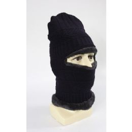 60 Units of Adults Beanie With Neck Warmer Fur Lined - Unisex Ski Masks