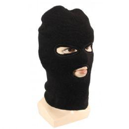 36 Units of Adults Black Lined Three Hole Ski Face Mask - Winter Hats