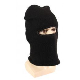 36 Units of Adults Black Lined One Hole Ski Face Mask - Unisex Ski Masks