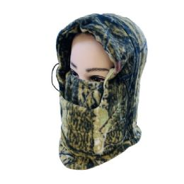 48 Units of ExtrA-Warm Camo Fleece Hooded Face Mask - Unisex Ski Masks