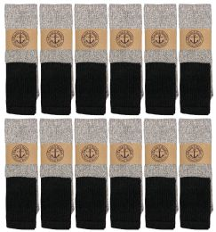 24 Units of Yacht & Smith Mens Cotton Thermal Tube Socks, Cold Weather Boot Sock Shoe Size 8-12 - Mens Thermal Sock