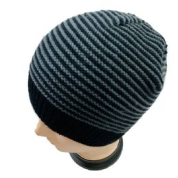 36 Units of Adults Black/gray Striped Stretch Beanie - Winter Hats
