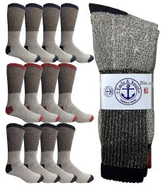 12 Units of Yacht & Smith Mens Thermal Socks, Warm Cotton, Sock Size 10-13 - Mens Thermal Sock
