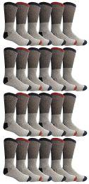 24 Bulk Yacht & Smith Mens Thermal Socks, Warm Cotton, Sock Size 10-13