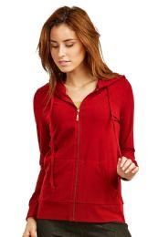24 Units of Women's Lightweight Zip Up Hoodie Jacket Red - Womens Active Wear
