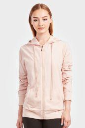 24 Units of Women's Lightweight Zip Up Hoodie Jacket Blush - Womens Active Wear