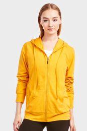 12 Units of Women's Lightweight Zip Up Hoodie Jacket Mustard Size Small - Womens Active Wear