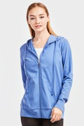 12 Units of Women's Lightweight Zip Up Hoodie Jacket Blue - Womens Active Wear
