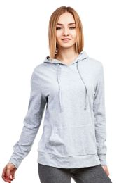 24 Units of Women's Lightweight Pullover Hoodie Heather Gray - Womens Active Wear