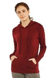 24 Units of Women's Lightweight Pullover Hoodie Burgundy - Womens Active Wear