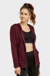 24 Units of Women's Lightweight Zip Up Hoodie Jacket Burgundy - Womens Active Wear