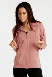 24 Units of Women's Lightweight Zip Up Hoodie Jacket Rose - Womens Active Wear