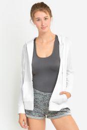 24 Units of Women's Lightweight Zip Up Hoodie Jacket White - Womens Active Wear