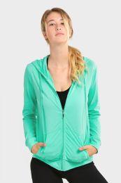 24 Units of Women's Lightweight Zip Up Hoodie Jacket Mint Green - Womens Active Wear