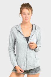 24 Units of Women's Lightweight Zip Up Hoodie Jacket Heather Gray - Womens Active Wear